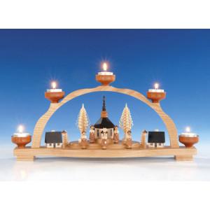 Schwibbogen mit Teelicht, Seiffener Kirche
