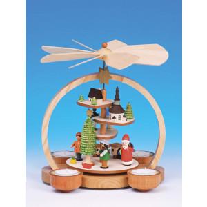 Knuth Neuber Teelichtpyramide Treppe mit Weihnachtsmann, farbig