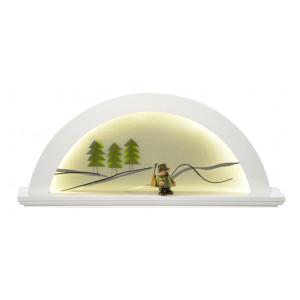 LED-Lichterbogen Erle weiss mit Glas, Tanne grün