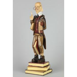 Geschnitzter Lehrer Lämpel farbig, 44 cm