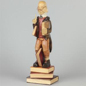 Geschnitzter Lehrer Lämpel farbig, 31 cm