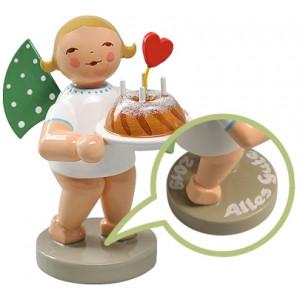 Glücksbote Engel mit Kuchen und Herz, Ihr Einzelstück