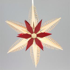 Fensterstern mit Beleuchtung doppelt ø 24,0 cm rot
