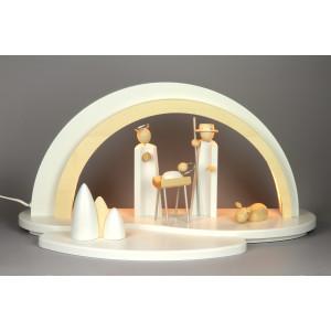 Holz Design LED Schwibbogen mit Krippefiguren, weiß