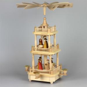 Pyramide Christi Geburt, 2-stöckig, natur, modern
