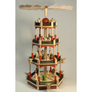 Pyramide Christi Geburt 3-stöckig, bunt