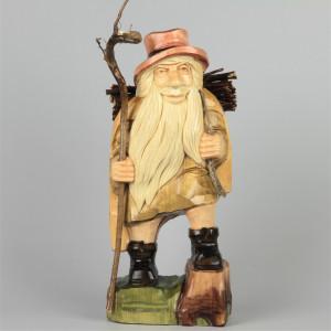 Geschnitzter Rübezahl farbig, 34 cm