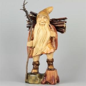 Geschnitzter Rübezahl mit Holz farbig, 38 cm
