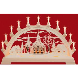 Schwibbogen Seiffener Kirche mit Kurrendefiguren