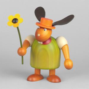 Hase mit Hut und Blume, grün, 17 cm