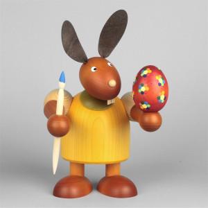 Hase mit Pinsel und Ei, gelb, 24 cm
