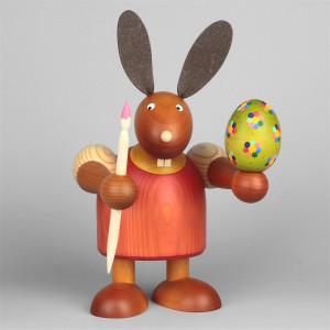 Hase mit Pinsel und Ei, rot, 24 cm