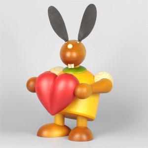 Hase mit Herz, gelb, 24 cm