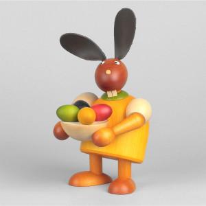 Hase mit Osternest, gelb, 17 cm