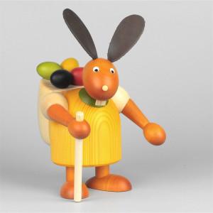 Hase mit Eierkiepe, gelb, 17 cm
