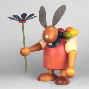Hase mit Blume und Eierkiepe, rot, 24 cm