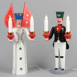 Seiffener Engel und Bergmann, elektrisch beleuchtet, 50 cm
