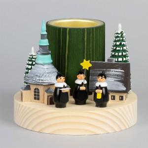 Teelichthalter Winterdorf Seiffen mit Kurrende