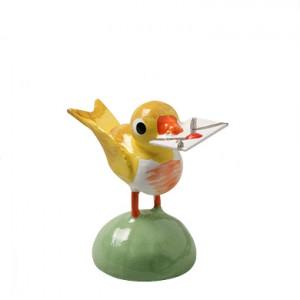 Vogel mit Brief, gelb