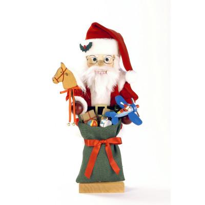 ussknacker Weihnachtsmann mit grünen Spielzeugsack