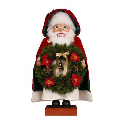 Nussknacker Weihnachtsmann mit Kranz