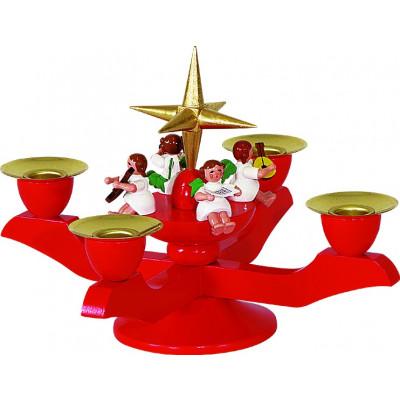 Adventsleuchter rot mit Engel, klein