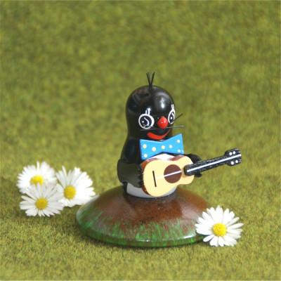 Holzminiatur Maulwurf mit Gitarre