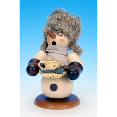 Räuchermännchen Schneemann mit Kaffeetasse natur
