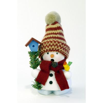 Räuchermännchen Schneemann mit Vogelhaus