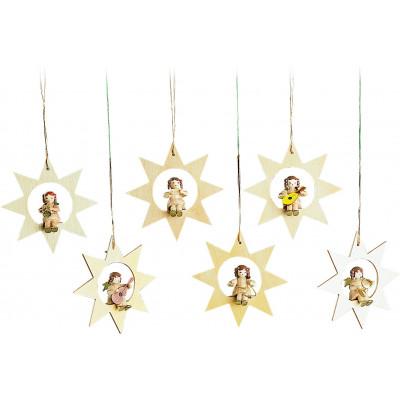 Baumbehang Engel im Stern natur, 6-teilig