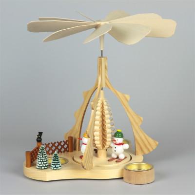Teelichtpyramide mit Schneemänner