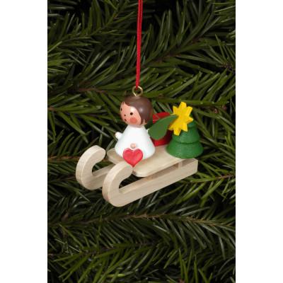 Baumbehang Miniengel auf Schlitten