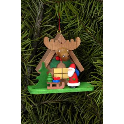 Baumbehang Waldhaus mit Weihnachtsmann