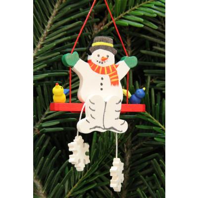 Baumbehang Schneemann auf Schaukel