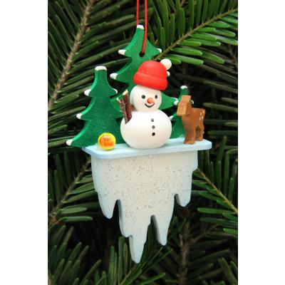 Baumbehang Schneemann auf Eiszapfen