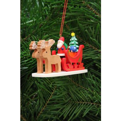 Baumbehang Weihnachtsmann im Rentierschlitten