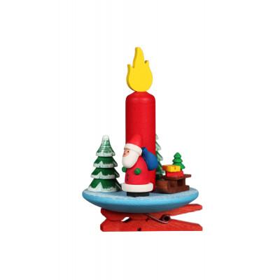 Baumbehang Kerze mit Weihnachtsmann auf Klammer