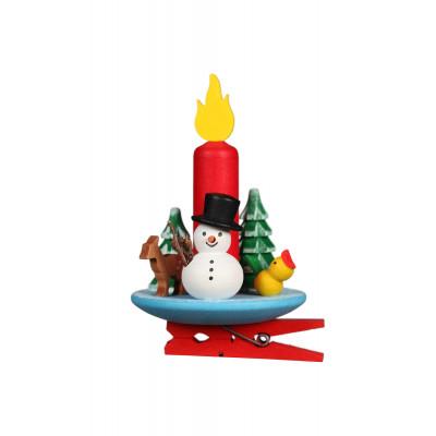 Baumbehang Kerze mit Schneemann auf Klammer