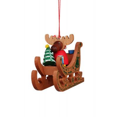 Baumbehang Elch Weihnachtsmann im Schlitten