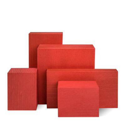 Deko-Set, 5-teilig, Klötze sägerau, rot