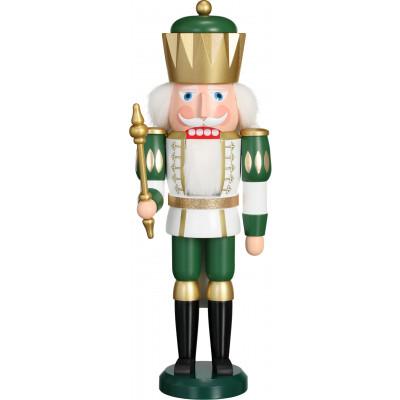 Nussknacker König, weiß-grün