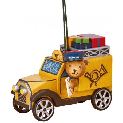Baumbehang Postauto mit Teddy