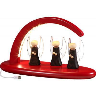 LED-Leuchterbogen mit Engel, rot