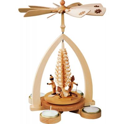 Teelichtpyramide Winterkinder