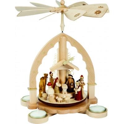 Teelichtpyramide Motiv Christi Geburt