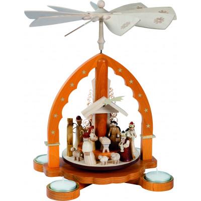 Teelichtpyramide Christi Geburt natur