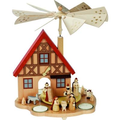 Teelichtpyramide Haus Christi Geburt
