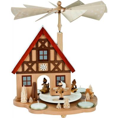 Teelichtpyramide Haus Winterkinder