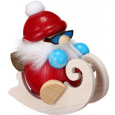Kugelräucherfigur Nikolaus fährt Schlitten
