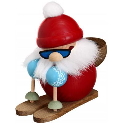 Kugelräuchermännchen Nikolaus läuft Ski
